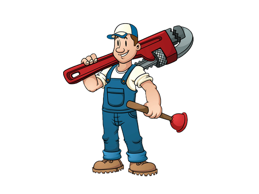 cartoon plumber holding as pipe wrench and a plunger