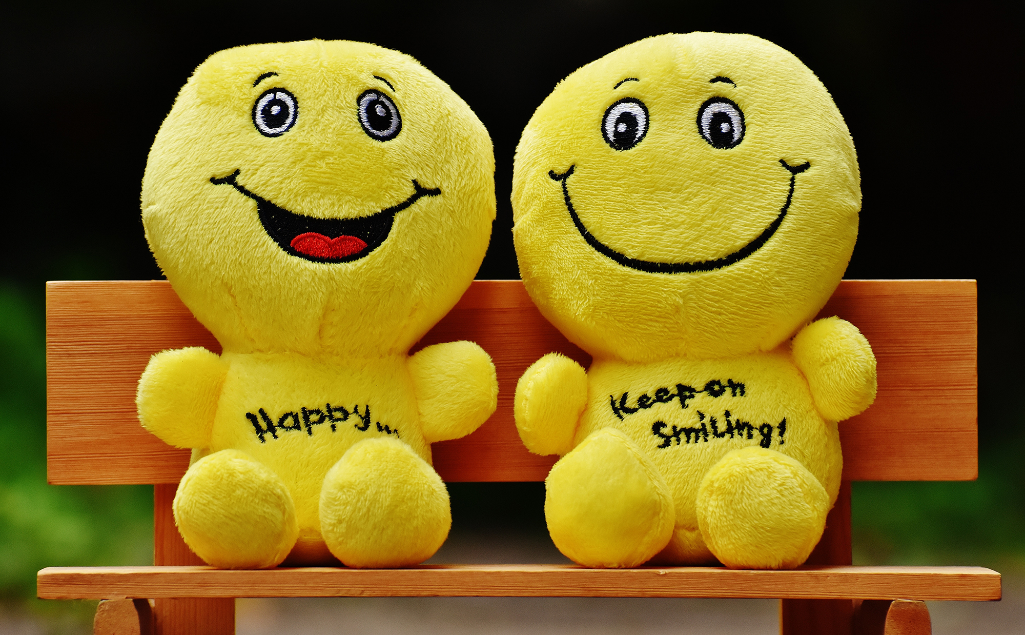 two smiley face plush toys sitting together on a bench